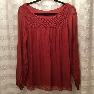 Cosmo Brick Red Silk Lined Top w/Sheer Sleeves